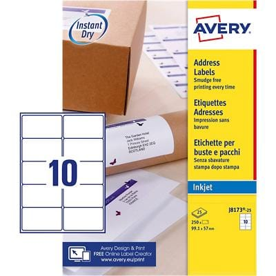 Avery J8173-25 Parcel Labels Self Adhesive 99.1 x 57 mm White 25 Sheets of 10 Labels