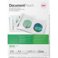 GBC Laminating Pouches Glossy 2 x 75 (150 Micron) A3 Pack of 100