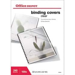 Office Depot A4 PVC Binding Covers Clear 240 Microns Pack of 100
