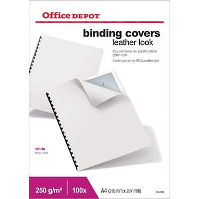 Office Depot Binding Covers A4 Leather 250 gsm White Pack of 100