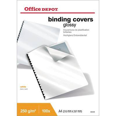 Office Depot Binding Covers A4 Cardboard 250 gsm White Pack of 100