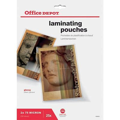 Office Depot Laminating Pouches Glossy 2 x 75 (150 Micron) A4 Pack of 25