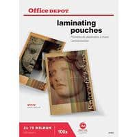 Office Depot Laminating Pouches Glossy 2 x 75 (150 Micron) A4 Pack of 100