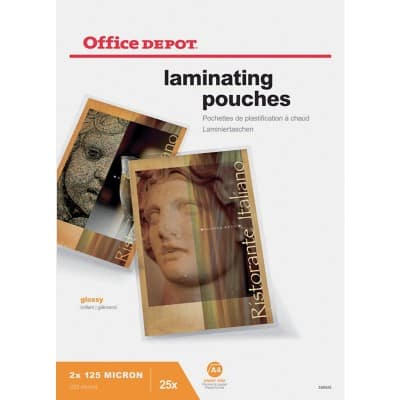 Office Depot Laminating Pouches Glossy 250 Microns A4 25 Pieces
