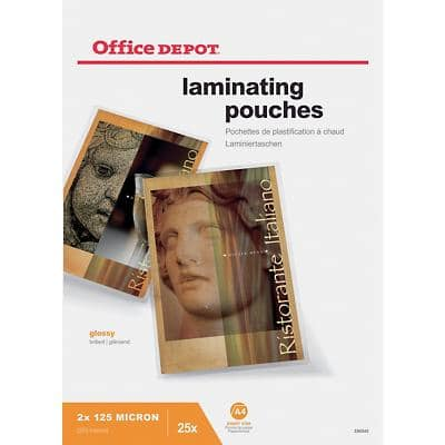 Office Depot Laminating Pouches Glossy 2 x 125 (250 Micron) A4 Pack of 25