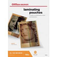 Office Depot Laminating Pouches Glossy 250 micron A4 100 Pieces