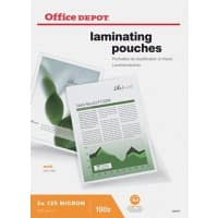 Office Depot Laminating Pouches Matt 2 x 125 (250 Micron) A4 Pack of 100