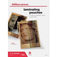 Office Depot Laminating Pouches Glossy 2 x 75 (150 Micron) A3 Pack of 100