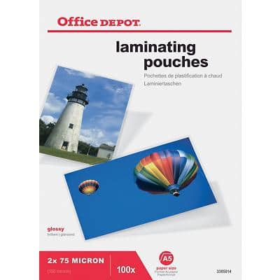 Office Depot Laminating Pouches Glossy 2 x 75 (150 Micron) A5 Pack of 100