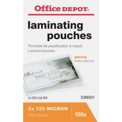 Office Depot Laminating Pouches Glossy 250 Microns 54 x 86 mm 100 Pieces