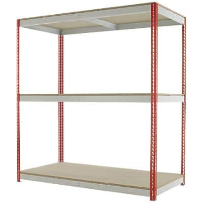 Kwik Rak Shelving Unit with 3 Shelves SX025RDGU 1800 x 900 x 1980mm Red & Light Grey