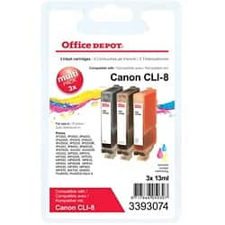 Office Depot Compatible Canon CLI-8C/M/Y Ink Cartridge 3 Colours 3 pieces