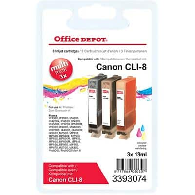 Office Depot Compatible Canon CLI-8C/M/Y Ink Cartridge Multicoloured Pack of 3