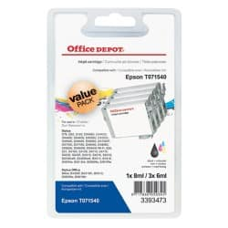 Office Depot Compatible Epson T0715 Ink Cartridge C13T07154010 Black & 3 Colours 4 Pieces
