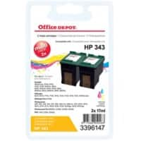 Office Depot Compatible HP 343 Ink Cartridge CB332EE 3 Colours Pack of 2