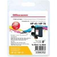 Office Depot Compatible HP HP45, HP78 Ink Cartridge SA308AE Black & 3 Colours 2 Pieces