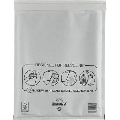 Mail Lite Padded Envelopes H/5 270 (W) x 360 (H) mm Peel and Seal White Pack of 50