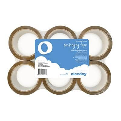 Niceday Packaging Tape 48 mm x 66 m Brown Pack of 6