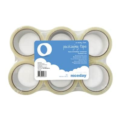 Niceday Economy Packaging Tape 48 mm x 66 m Transparent 6 Rolls