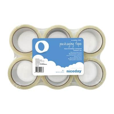 Niceday Packaging Tape 48mm x 66m Transparent 6 Rolls