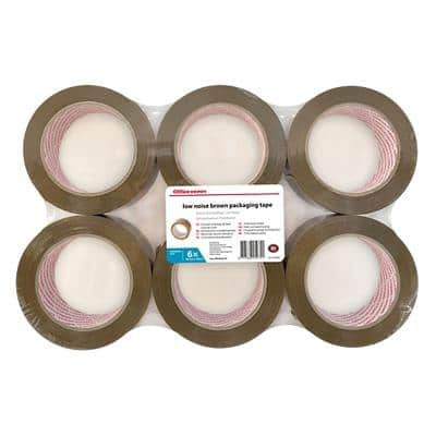 Office Depot Low Noise Packaging Tape 50mm x 100m Brown 6 Rolls