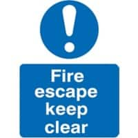 Mandatory Sign Fire Escape Vinyl 20 x 15 cm