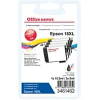 Office Depot Compatible Epson 16XL Ink Cartridge C13T16364012 Black & 3 Colours 4 Pieces