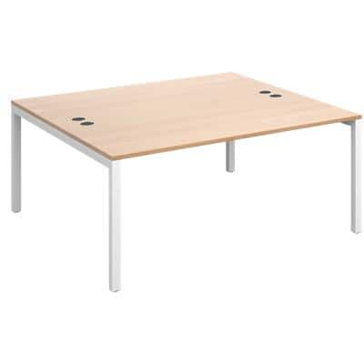 Rectangular Back to Back Desk with Beech Coloured Melamine & Steel Top and White Frame 4 Legs Connex 1600 x 1600 x 725 mm