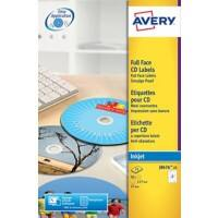 Avery J8676-25 CD Labels Self Adhesive Ø 117 mm White & Matt 25 Sheets of 2 Labels