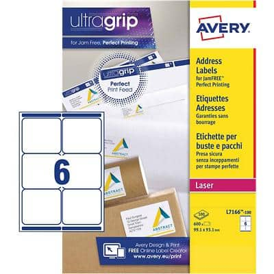 Avery L7166-100 Address Labels A4 White 99.1 x 93.1 mm 100 Sheets of 6 Labels