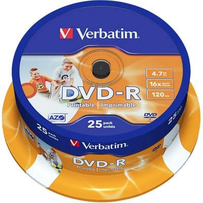 Verbatim DVD-R Wide Inkjet Printable 16x 4.7 GB Pack of 25