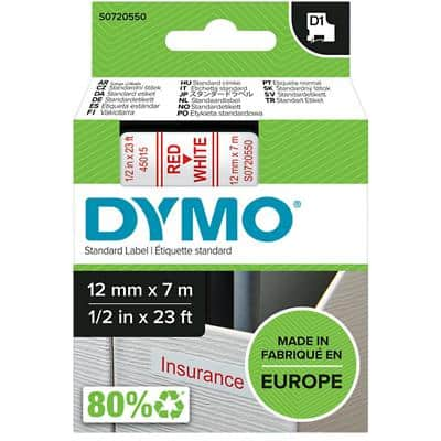 DYMO D1 45015 Label Tape, Authentic, Self Adhesive, Red Print on White 12 mm x 7 m