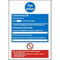 Sign Fire Action Plastic 20 x 15 cm