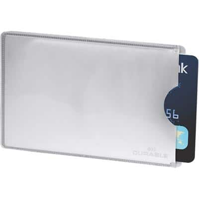 DURABLE Anti-Skim Credit Card Holder 54 x 86 mm Silver 9 x 6.1 cm Pack of 10