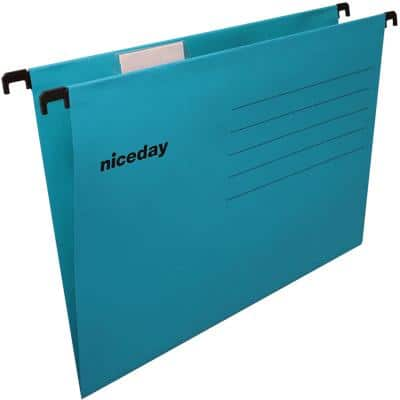 Niceday Vertical Suspension File Cardboard V Base 220gsm Blue Pack of 25
