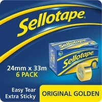 Sellotape Original Golden Tape 24mm x 33m Transparent 6 Rolls