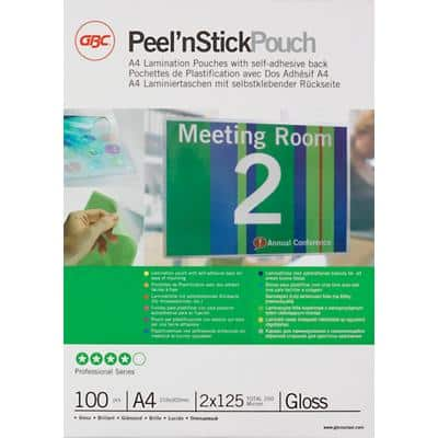 GBC Adhesive Back Laminating Pouches Glossy 2 x 125 (250 Micron) A4 Pack of 100