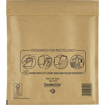 Mail Lite Mailing Bags E/2 80gsm Gold Plain Peel and Seal 260 x 220 mm Pack of 100