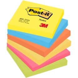 Post-it Sticky Notes 654TF Assorted Plain 76 x 76 mm 70gsm 6 pieces of 100 sheets
