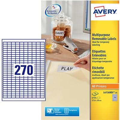 Avery L4730REV-25 Mini Multipurpose Labels Removable 17.8 x 10 mm White 25 Sheets of 270 Labels