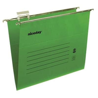 Niceday Vertical Suspension File Foolscap V Base 180gsm Green Pack of 50