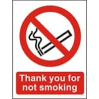 Prohibition Sign No Smoking PVC 15 x 20 cm