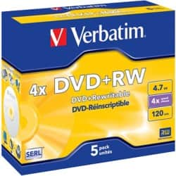Verbatim DVD+RW 16X 4.7 GB Jewelcase (5 Pack)