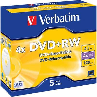 Verbatim DVD+RW 4x 4.7 GB Pack of 5