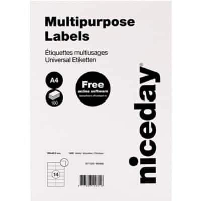 Niceday Multipurpose Labels 105 x 42.3 mm Adhesive White 100 Sheets Pack of 1400 Labels