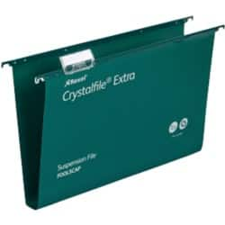 Rexel Crystalfiles Extra Suspension Files Polypropylene 30 mm Capacity Foolscap Green - Box 25