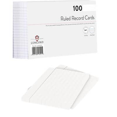 Niceday Record Cards Ruled White 203 x 127 mm Pack of 100