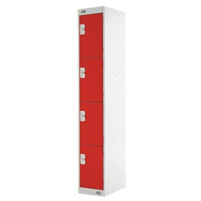 LINK51 Standard Mild Steel Locker with 4 Doors Standard Deadlock Lockable with Key 300 x 450 x 1800mm Grey & Red