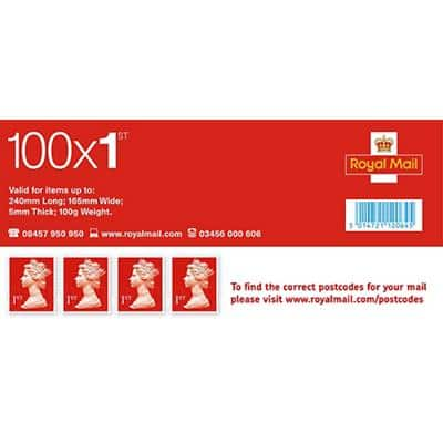 Royal Mail 1st Class Postage Stamps 100 Pieces