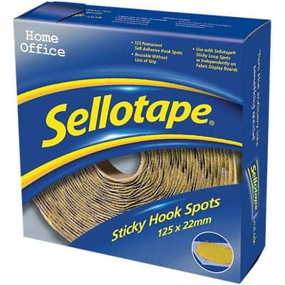 Sellotape Sticky Hook Spots Permanent Yellow Pack of 125